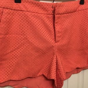 Elle brand, scalloped coral shorts